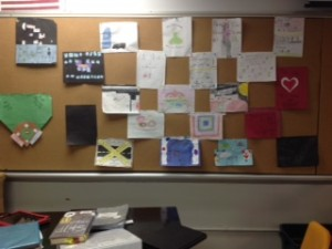 Figure 1. The cork wall featuring student work.