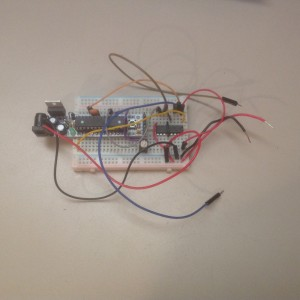 RBBB on a breadboard with e motor driver chip ready for hookup.